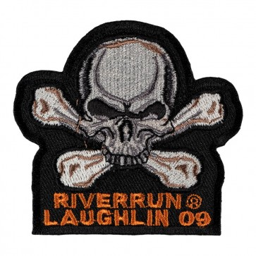 27th Annual 2009 Laughlin River Run Skull & Crossbones White & Grey Event Patch