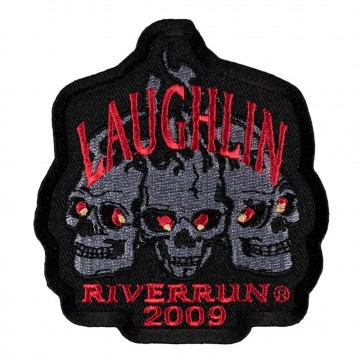 2009 Laughlin River Run Flaming Red Eyed Skulls Event Patch