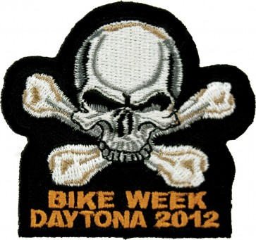 2012 Daytona Bike Week Skull & Crossbones White & Grey Event Patch