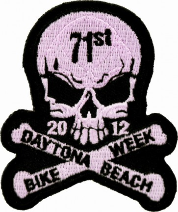 2012 Daytona Beach Bike Week 71st Skull & Crossbones Pink Event Patch