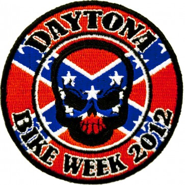 2012 Daytona Bike Week Rebel Flag Skull Round Event Patch