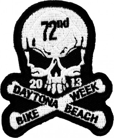 2013 Daytona Beach Bike Week 72nd Skull & Crossbones White Event Patch