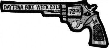 2013 Daytona Bike Week 72nd Black Revolver Hand Gun Left Event Patch