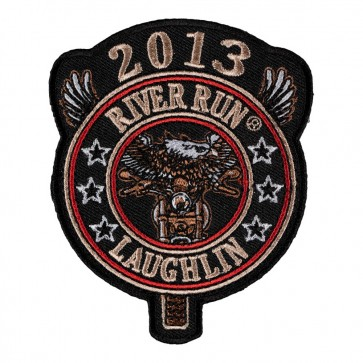 Embroidered 2013 Laughlin River Run Eagle Biker Round Tab Event Patch