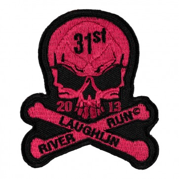 31st Anniversary Laughlin River Run Skull & Crossbones Pink 2013 Event Patch