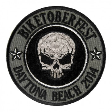 2014 Biketoberfest Daytona Grey Skull Round Event Patch