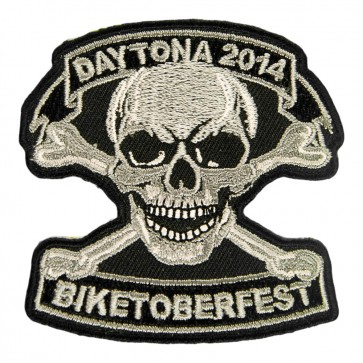 2014 Biketoberfest Daytona Grey Skull & Crossbones Event Patch