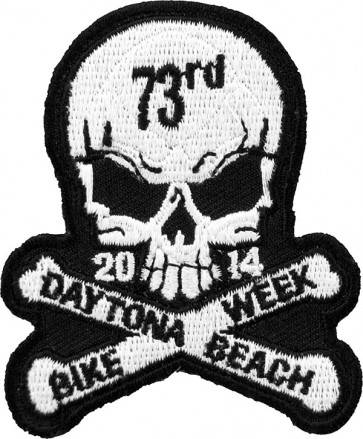 Bike Week White Skull & Crossbones Patch