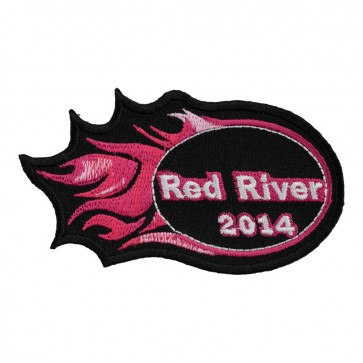 2014 Red River Pink Flames Sew On Event Patch