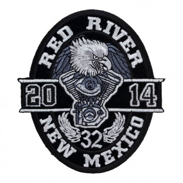 Embroidered 2014 Red River Black Oval Eagle Event Patch