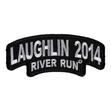 Embroidered 2014 Laughlin River Run Stacked White Rocker Event Patch
