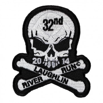 Embroidered 2014 Laughlin River Run Skull & Crossbones White Event Patch