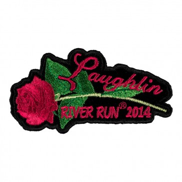 Embroidered 2014 Laughlin River Run Pink Rose & Stem Event Patch