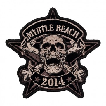 2014 Myrtle Beach Star Skull & Crossbones Embroidered Event Patch