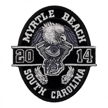 2014 Myrtle Beach Black Oval Eagle Iron On Event Patch