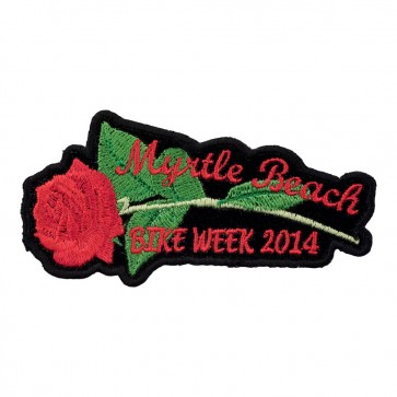 2014 Myrtle Beach Embroidered Red Rose & Stem Event Patch