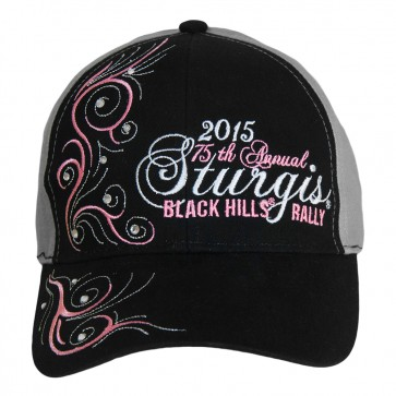 2015 Sturgis 75th Annual Black Hills RallySparkle Grey and Pink Ladies Hat