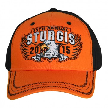 75th Anniversary Sturgis 2015 Rally Wing Eagle Orange and Black Hat
