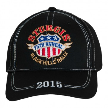 2015 Sturgis 75th Anniversay Black Hills Rally American Rider Shield Black Hat