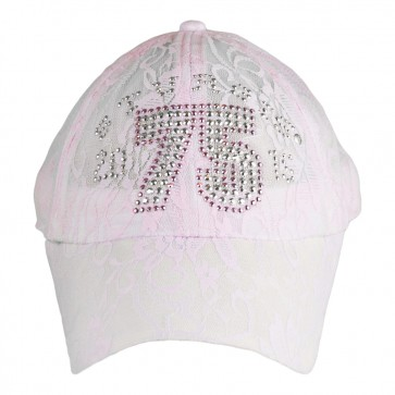 2015 Sturgis 75th Anniversary Motorcycle Rally Pink Lace Rhinestone Ladies Hat