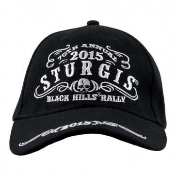 2015 Sturgis 75th Anniversary Black Hills Rally Tribal Skull Black Cap