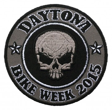 Grey Round Skull Bike Week Event Patch
