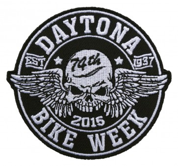 Straight Winged Skull Daytona Bike Week Event Patch