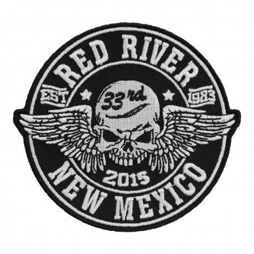 33rd Anniversary 2015 Red River Winged Skull Black & White Event Patch