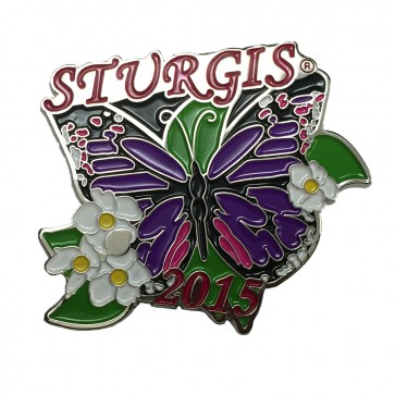75th Sturgis Motorcycle Rally 2015 Purple Butterfly Flowered Event Pin