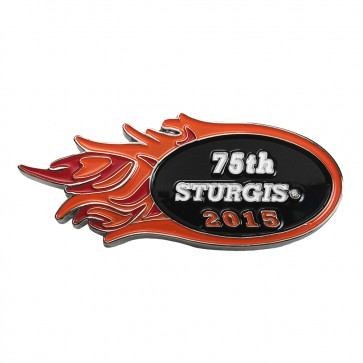 2015 Sturgis 75th Motorcycle Rally Orange & Pink Flames Pin