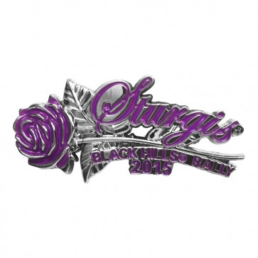 75th Sturgis 2015 Motorcycle Rally Purple Rose & Stem Event Pin