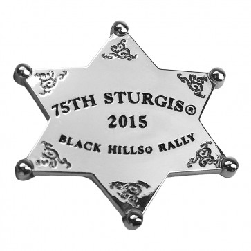 Silver Western Sheriff Star 75th Sturgis Motorcycle Rally 2015 Event Pin