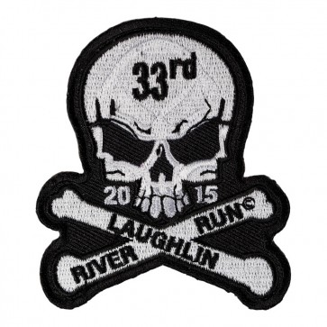 Embroidered 2015 Laughlin River Run Skull & Crossbones White Event Patch