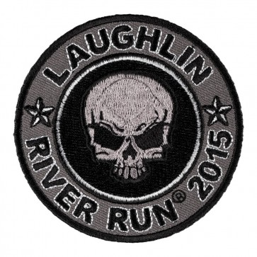 Sew On 2015 Laughlin River Run Grey Skull Round Event Patch