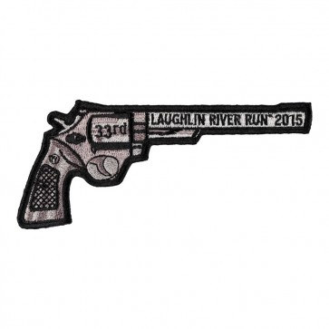 Black & Grey 2015 Laughlin River Run Right Revolver Hand Gun Event Patch