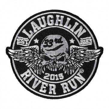 Embroidered 2015 Laughlin River Run Winged Skull Black & White Event Patch