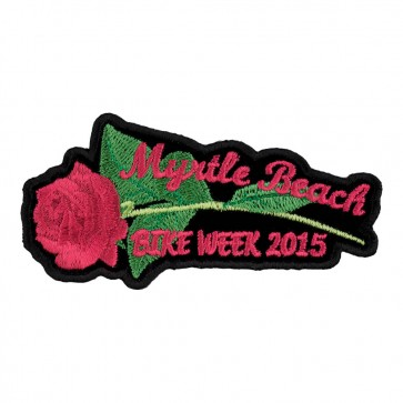 2015 Myrtle Beach Pink Rose & Stem Iron On Event Patch
