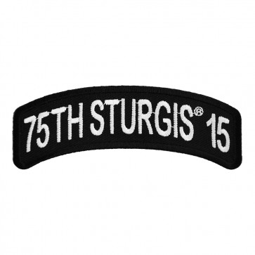 2015 Sturgis 75th Anniversary Black Hills Rally White Rocker Embroidered Event Patch
