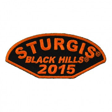 2015 Sturgis Black Hills Rally Half Moon Embroidered Orange Event Patch