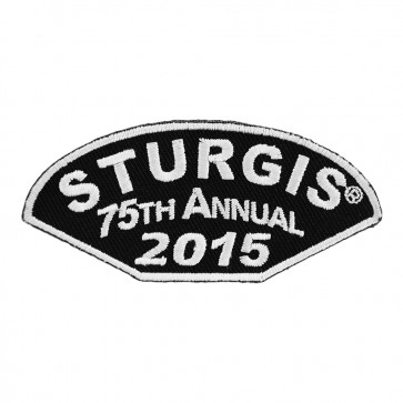 Embroidered 2015 Sturgis 75th Annual Black Hills Rally Half Moon White Event Patch