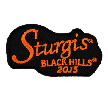 2015 Sturgis 75th Black Hills Rally Orange Script Embroidered Event Patch