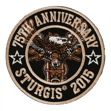 2015 Sturgis 75th Anniversary Eagle Biker Round Embnroidered Event Patch