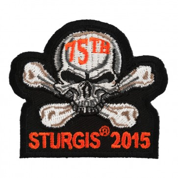 2015 Sturgis 75th Motorcycle Rally Skull & Crossbones Orange Event Patch