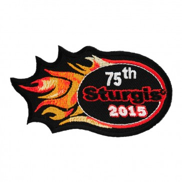 Embroidered 2015 Sturgis 75th Motorcycle Rally Orange Flames Event Patch
