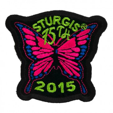 2015 Sturgis 75th Motorcycle Rally Pink Butterfly Embroidered Event Patch