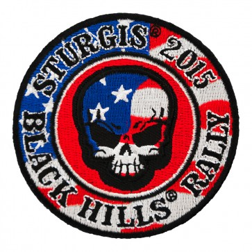 2015 Sturgis American Flag Skull Embroidered Round Event Patch