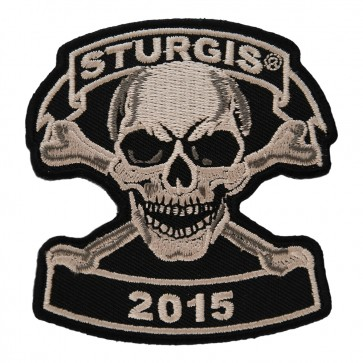 Embroidered 2015 Sturgis Motorcycle Rally Tan Skull & Crossbones Event Patch