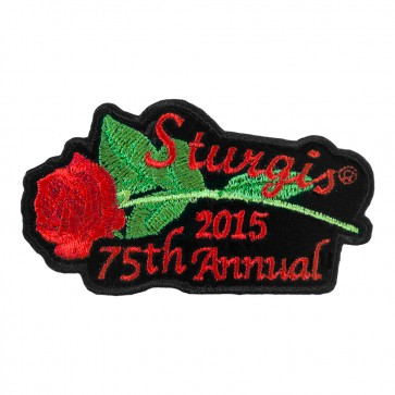 75th Annual Sturgis Black Hills Rally 2015 Red Rose & Stem Embroidered Event Patch