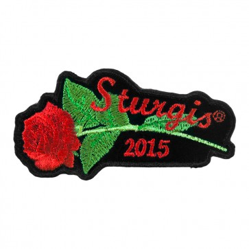 2015 Sturgis Motorcycle Rally Red Rose & Stem Embroidered Event Patch