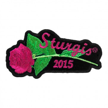 2015 Sturgis Black Hills Rally Pink Rose & Stem Embroidered Event Patch